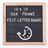 lixuanjiaju Felt Letter Board,10x10 Inch,Oak Wood Frame,Black Felt with Clock Image Background, Changeable Message Sign Board with Letters,Bag,Scissors and Metal Stand