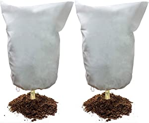"""2 Pack Plant Frost Protection Cover Bags 2.1 oz/m² Winter Warm Frost Cloth Blanket 35.4"""" x 59"""" Polypropylene Garden Fabric Protecting Fruit Tree Potted Plants"""