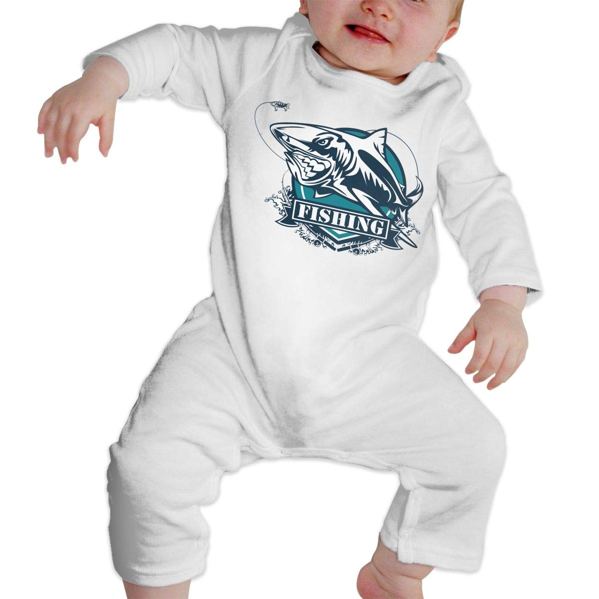 Baby Boy Girl Crew Neck Long Sleeve Pure Color Onesie Toothy Great White Shark Fishing Logo Crawling Suit