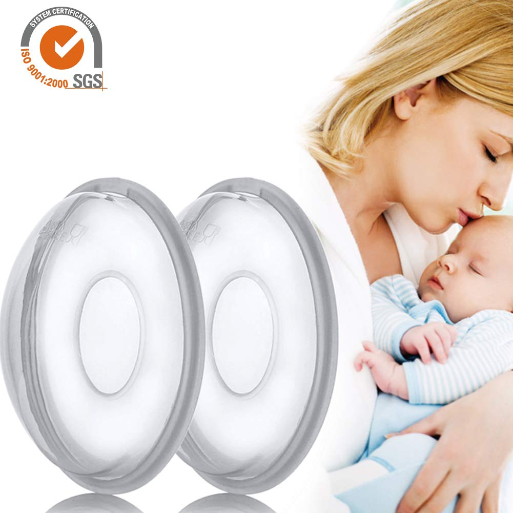 2 Pack Reusable Breast Shell Milk Collection Nursing Cup Soft Milk Saver Protect Sore Nipples Flexible Anti-Overfill Breast Pad for Breastfeeding, Collect & Save Breastmilk iBaste