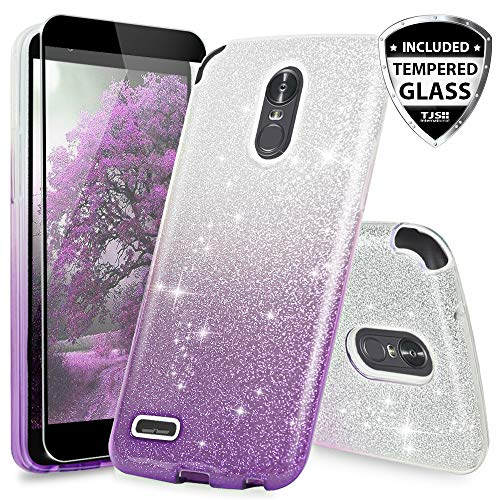 LG Stylo 3 Case, LG Stylo 3 Plus Case, with TJS [Full Coverage Tempered Glass Screen Protector] Two Tone Glitter Hybrid TPU with Glitter Paper with PC Shinny Glitter Hybrid Protection Case (Purple)