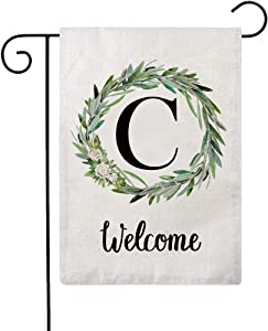 ULOVE LOVE YOURSELF Welcome Decorative Garden Flags with Letter C/Olive Wreath Double Sided House Yard Patio Outdoor Garden Flags Small Garden Flag 12.5×18 Inch