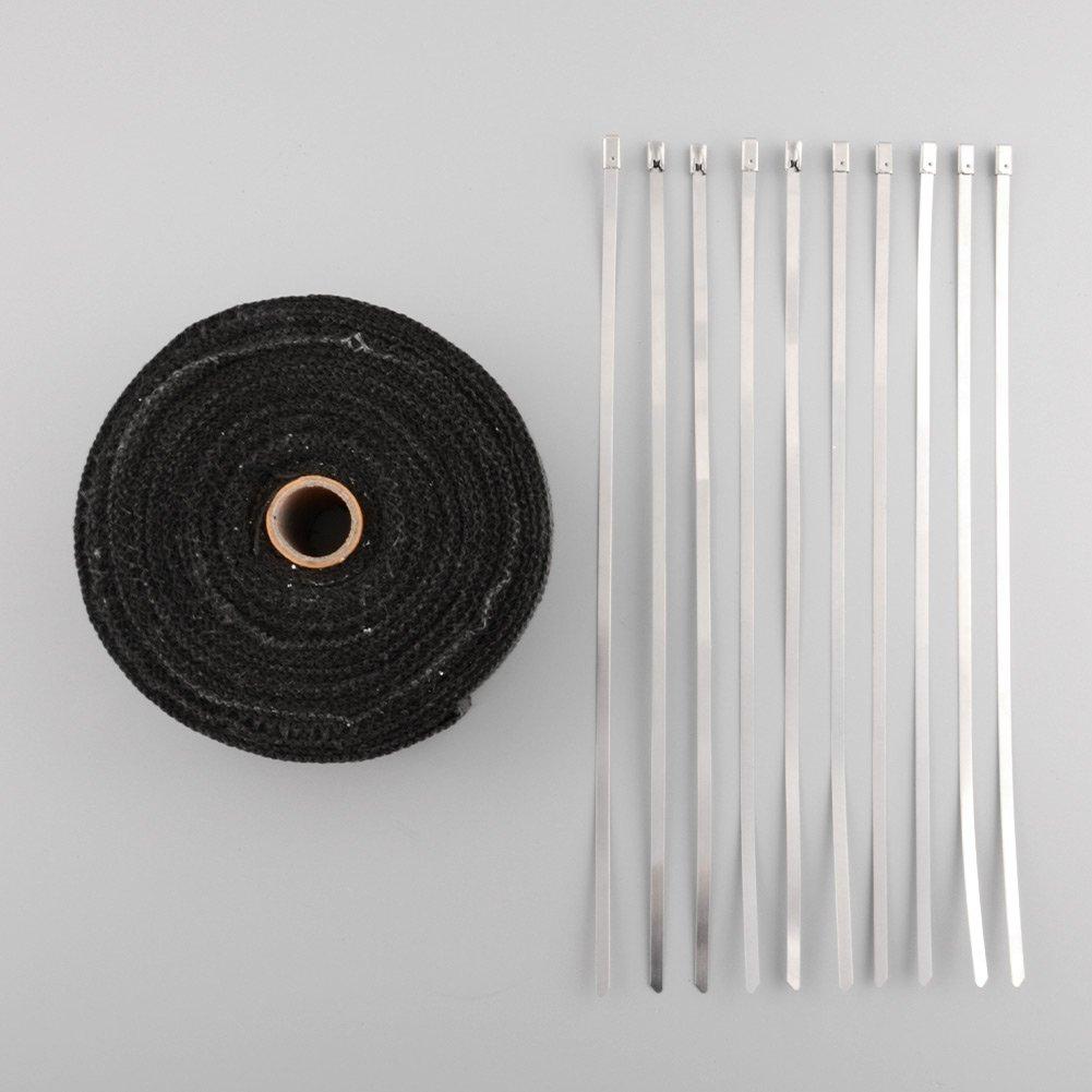 sedeta Heat Shield Tape 10m Gases y el calor Wrap rollo Con inoxidable 10 corbata Venda caliente del coche Spark Plug Heat Protector Para el coche y la motocicleta de la cinta de escape