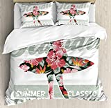 Big buy store Hawaiian Duvet Cover Set, Tropical Hawaii Hibiscus Surfing Girl Silhouette Surfboard Retro Themed Artprint, Decorative 4 Piece Bedding Set with 2 Pillow Covers, Coral Green(Twin)
