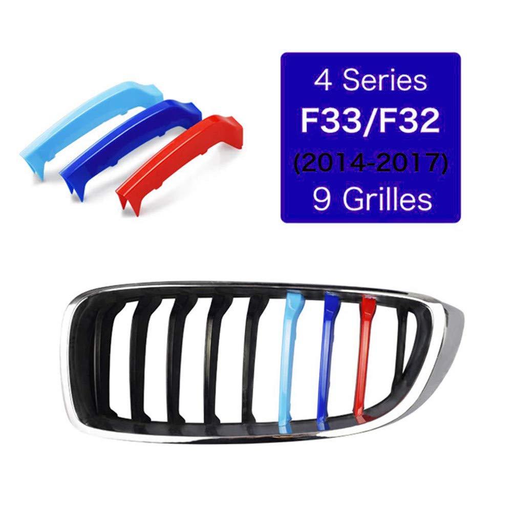 Pour B M W 4 Series F32 F33 420i 428i 435i 2013-2018 3D Autocollant de Grille Front Grille Trim Strips Kidney Clip Couverture Capuchon Boucle Bande 3 Pi/èces 9 Grille