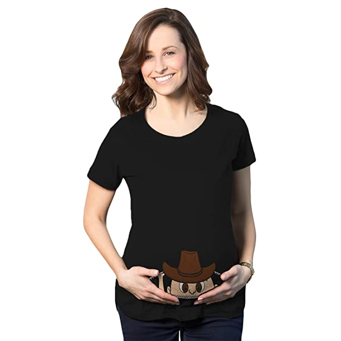 Crazy Dog T-Shirts Maternity Peeking Cowboy Western Baby Funny Pregnancy  Gift T Shirt ( ac97a7bf9