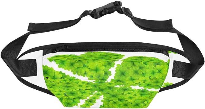 Green Four Leaf Clover Sport Waist Packs Fanny Pack Adjustable For Travel