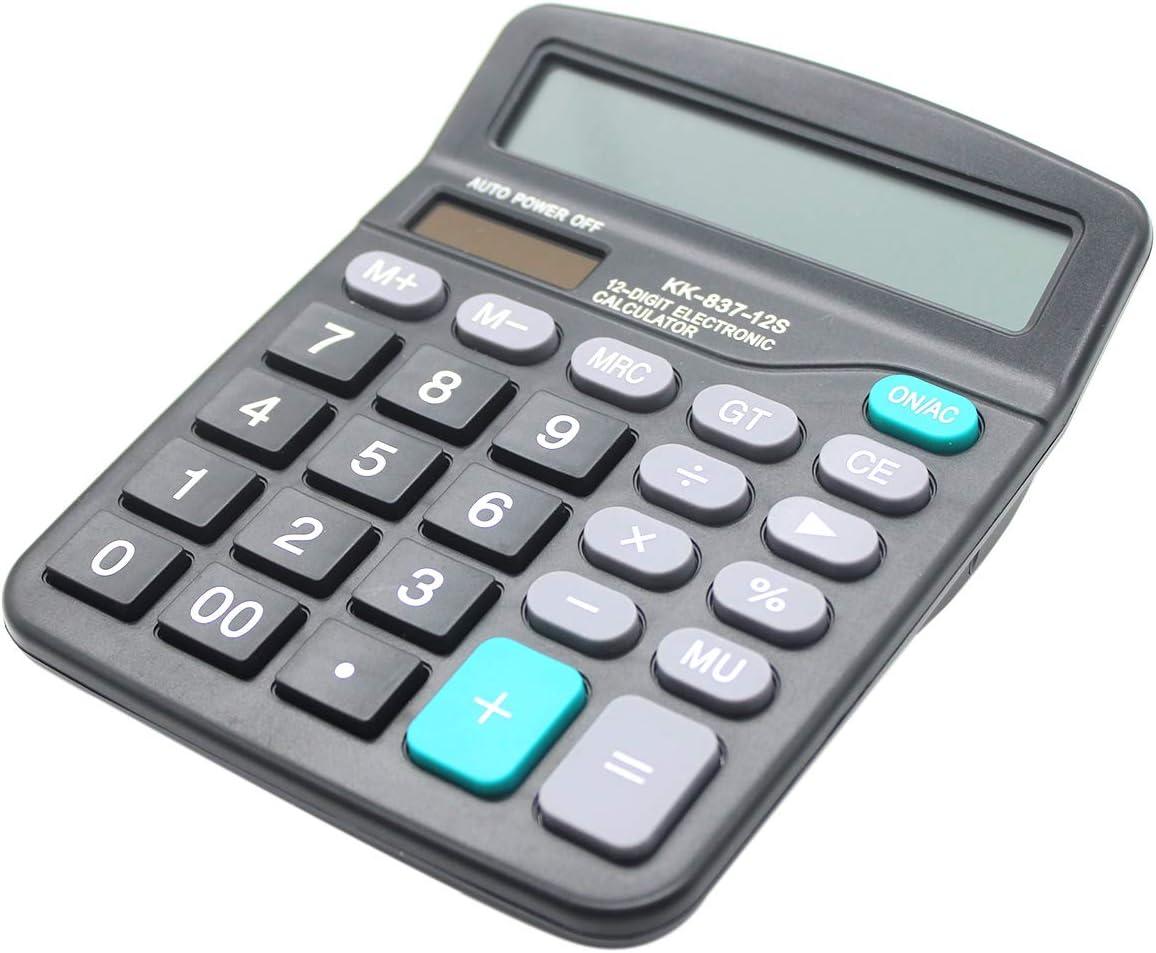 Desk Calculator, 12-Digit Solar Battery Office Calculator with Large LCD Display Big Sensitive Button, Dual Power Desktop Calculators
