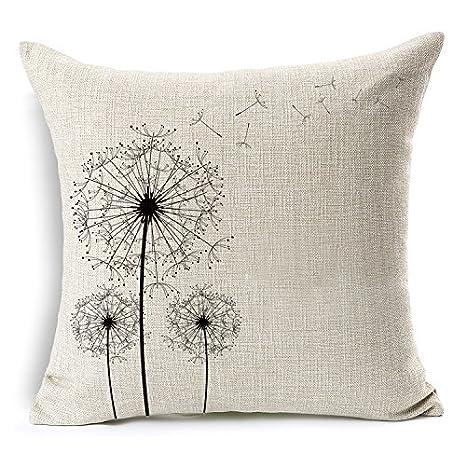Amazon.com: wenmei Lino y Algodón Square Throw decorativos ...