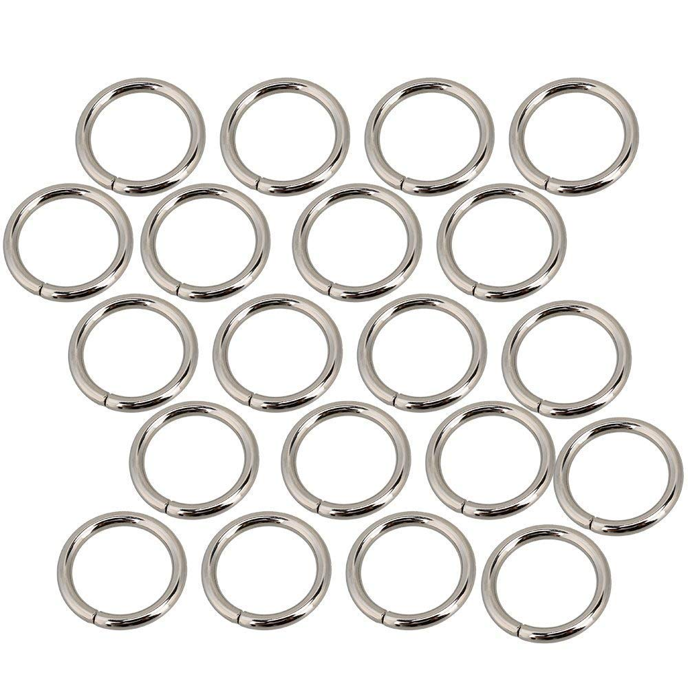 20 Pcs Multi-Purpose Metal Round Ring Silver for Hardware Bags Ring Hand DIY Accessories 38mm 20mm