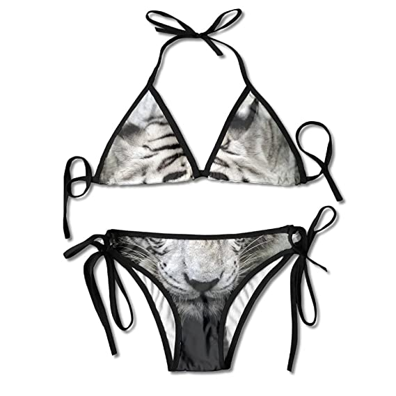 6a03e42e1a6ff Image Unavailable. Image not available for. Color  Women s Two Piece Best  White Tiger Bordure Bikini ...