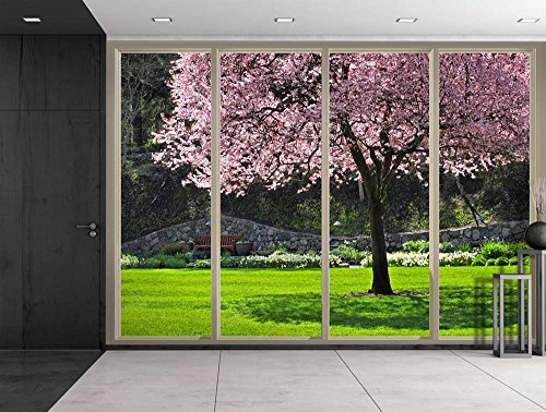 Wall26 - Pink Cherry Blossom Tree on a Japanese Garden with a Bench at the Far End Viewed From Sliding Door - Creative Wall Mural, Peel and Stick Wallpaper, Home Decor - 66x96 inches (Wp Japanese)