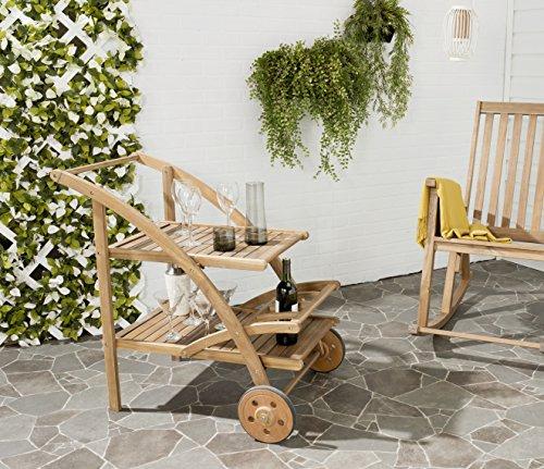 Teak Tea Table - Safavieh Outdoor Living Collection Lodi Tea Cart, Teak Brown