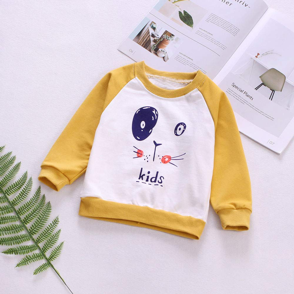 KONFA Toddler Baby Girls Cartoon T-Shirt,for 0-24 Months,Kids Long Sleeve Blouse Tops Autumn Clothing Set