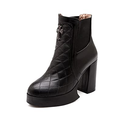 Women's High-Heels Patent Leather Low-top Solid Pull-on Boots
