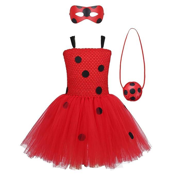 IEFIEL Vestido Rojo Lunares para Niña Disfraz Princesa Tutú Rojo ...