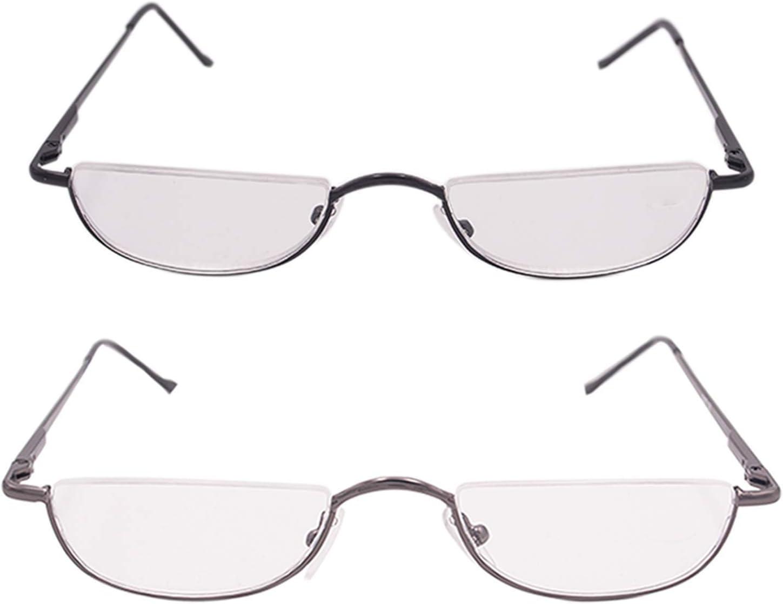 Ausilio per la lettura unisex Half Moon con montatura in metallo con cerniera a molla e occhiali da lettura ultrasottili grigio,+1.5)
