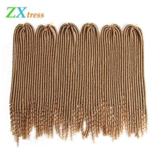 Zxtress Curly Ends Synthetic Braiding Hair 1Pack/Lot 20 inch Faux Locs Crochet Hair Twist Braids Goddess Locs kanekalon Dreadlocks Extension Dreads Blonde (Blonde Goddess)