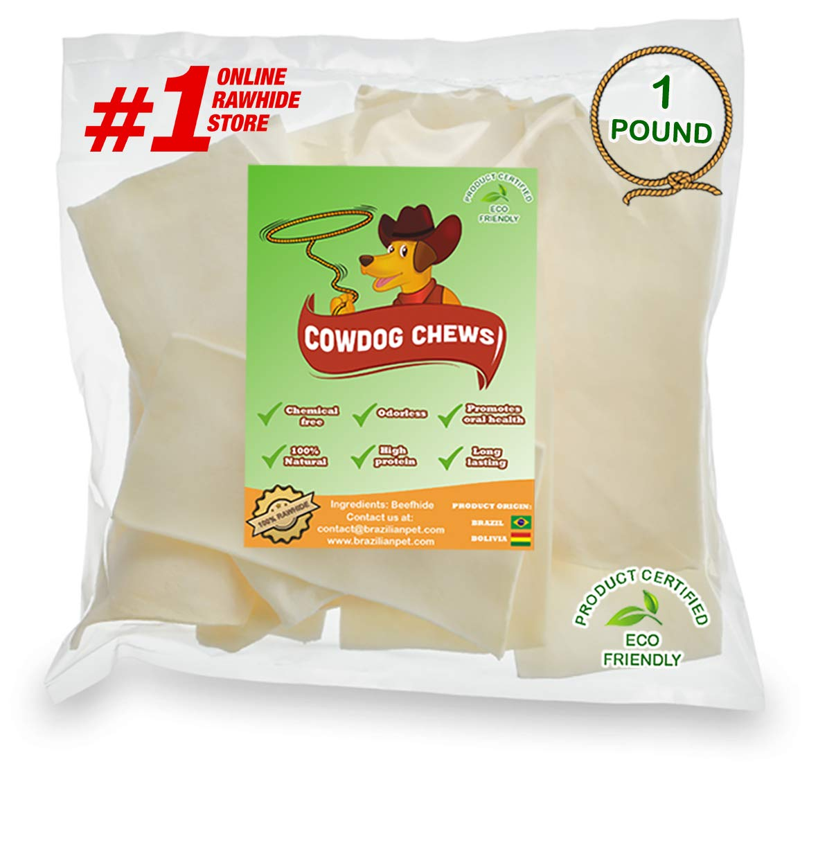 Cowdog Chews Natural Rawhide Chips. Premium Long-Lasting Dog Treats with Thick Cut Beef Hides, Processed Without Additives or Chemicals 1