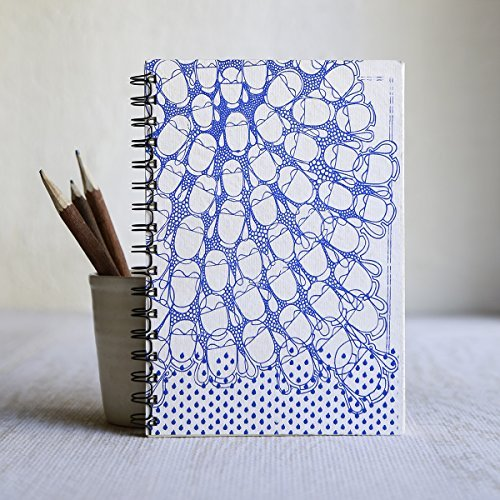 Blank Journal Personal Diary Composition Notebook Travel Record Book Sketchbook Handmade Water Elemental Theme Spiral Bound 8 x 6 lined 100 Pages Office Paper Supplies