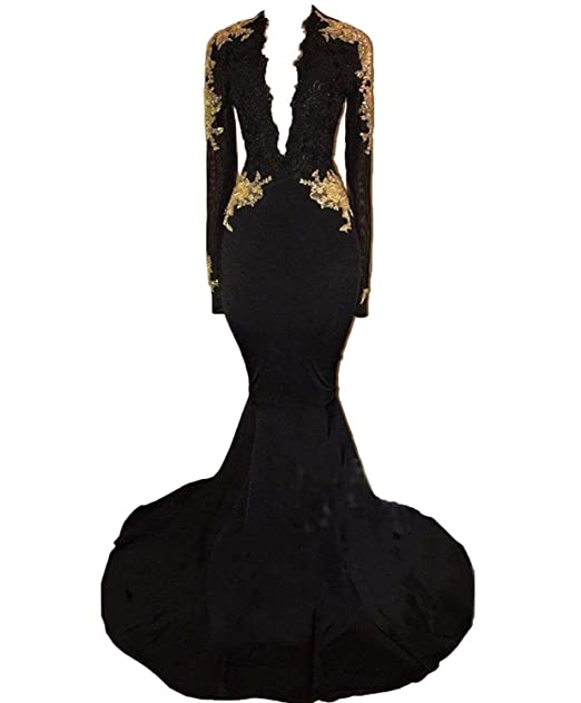 Graceprom Womens Black Long Sleeves Prom Dress Gold S Mermaid Evening Dress