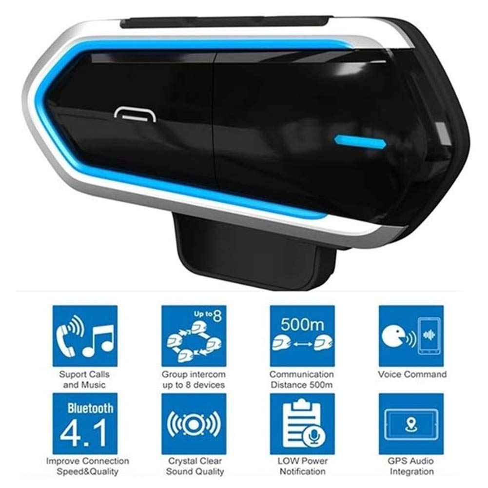 9302sonoaud B35 Motorcycle Riders Interfono per Il Casco Interfono Auricolare Kit Audio Bluetooth 4.1 Blu