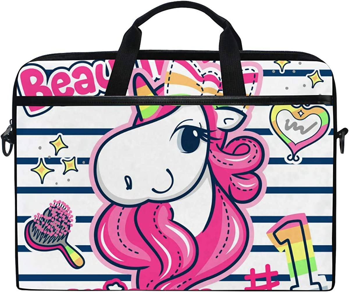 VALLER Laptop Bag, Beautiful Unicorn Girl Shoulder Messenger Bag 15 Inch Laptop Case Computer Carrying Case Business Briefcase for Women Men, Multicolor, 11x15 in