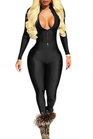 325fbcd5845f Women's Deep V-Neck Zippers Front Long Sleeve Bodycon Romper Jumpsuit Black  XS
