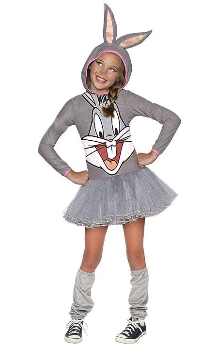 looney tunes bugs bunny girls hooded costume childs medium