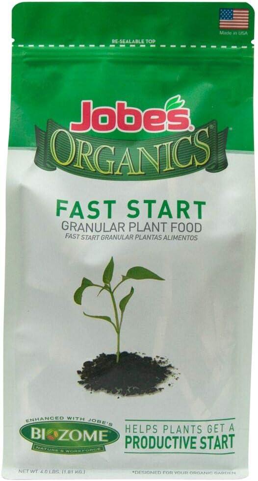Jobe's Organics 09726 EMW7215080 Fast Start Granular Fertilizer with Biozome, 4-4-2 Org, 4 lb, Brown/A