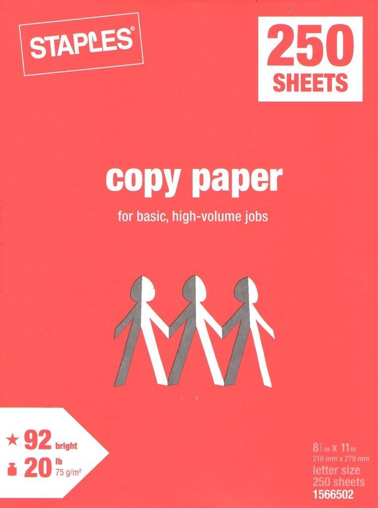 Staples Copy Paper, Multipurpose Laser Inkjet Printer, 20 lb. Density, 92 Bright White, Acid-Free, Convenient Half-Ream Size, 250 Sheets
