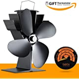 Power Free Fan for Fireplace Wood Ovens Fuel Cost Saving 4 Blades Stove Fan Fan Heater Fireplace Chimneys Eco Friendly