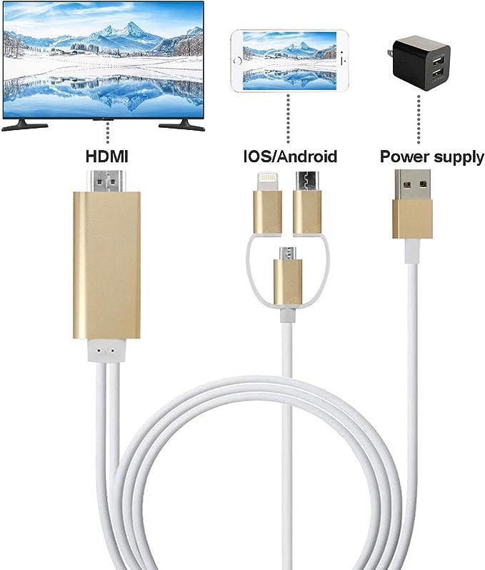 ZFKJERS 3 en 1 Cable de teléfono a HDMI, Espejo de Pantalla de teléfono Celular a TV/proyector/Adaptador de Monitor, resolución de 1080p para Dispositivos iOS y Android: Amazon.es: Electrónica