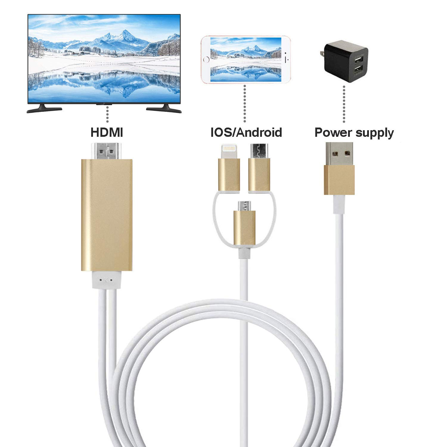 ZFKJERS 3 in 1 Phone to HDMI Cable, Mirroring Cellphone Screen to TV/Projector/Monitor Adapter, 1080P Resolution for iOS and Android Devices (Gold)