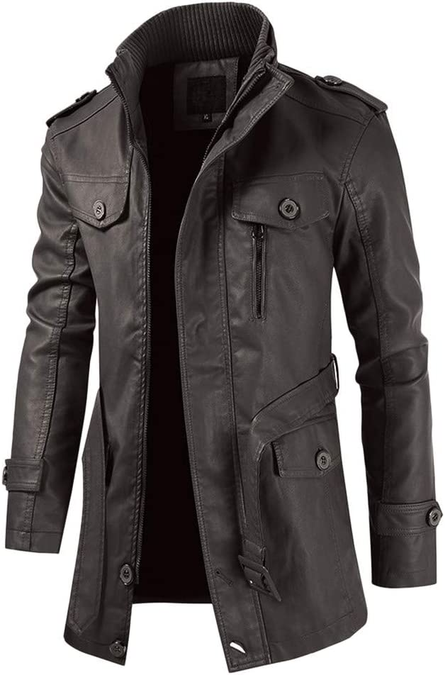 Rabbiter Chaqueta de Cuero para Hombre - Cafe Racer Faux Lambskin Leather Long Sleeve Distressed Motorcycle Jacket