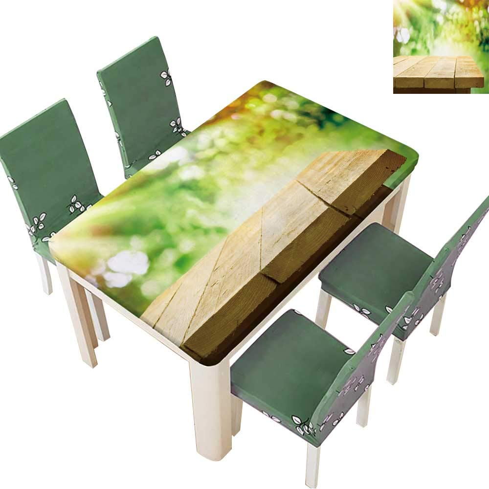 Printsonne Polyester Tablecloths Empty Wooden Table with Garden Bokeh for a Catering or Food Background with a Country Theme for Indoor and Outdoor Use 54 x 120 Inch (Elastic Edge)