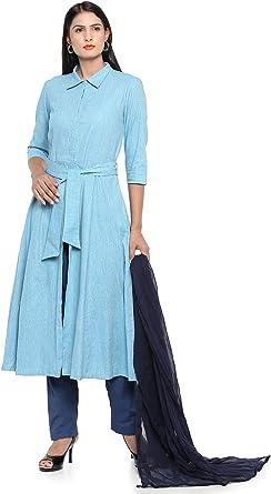 Amazon.com: Utsav Fashion - Traje de lino pakistaní en color ...