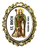 St Roch Patron of Dogs Huge 2'' Antique Bronze Gold Pin Brooche