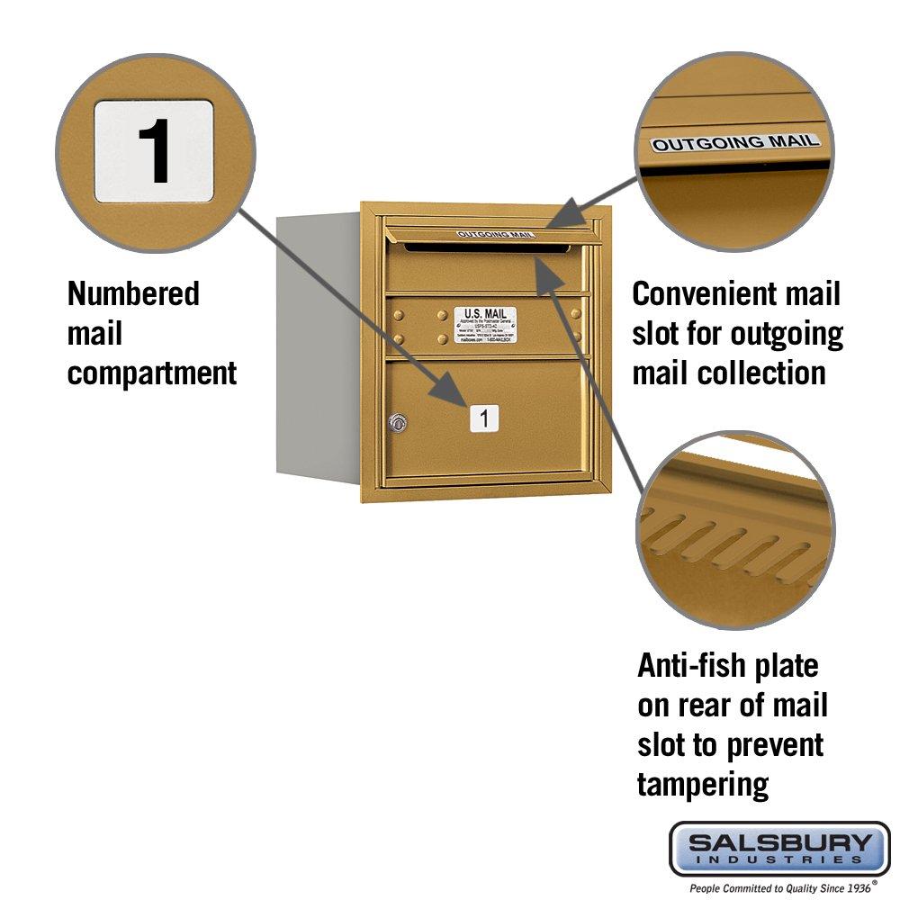 Salsbury Industries 3704S-01GRU 4C Horizontal Mailbox Gold