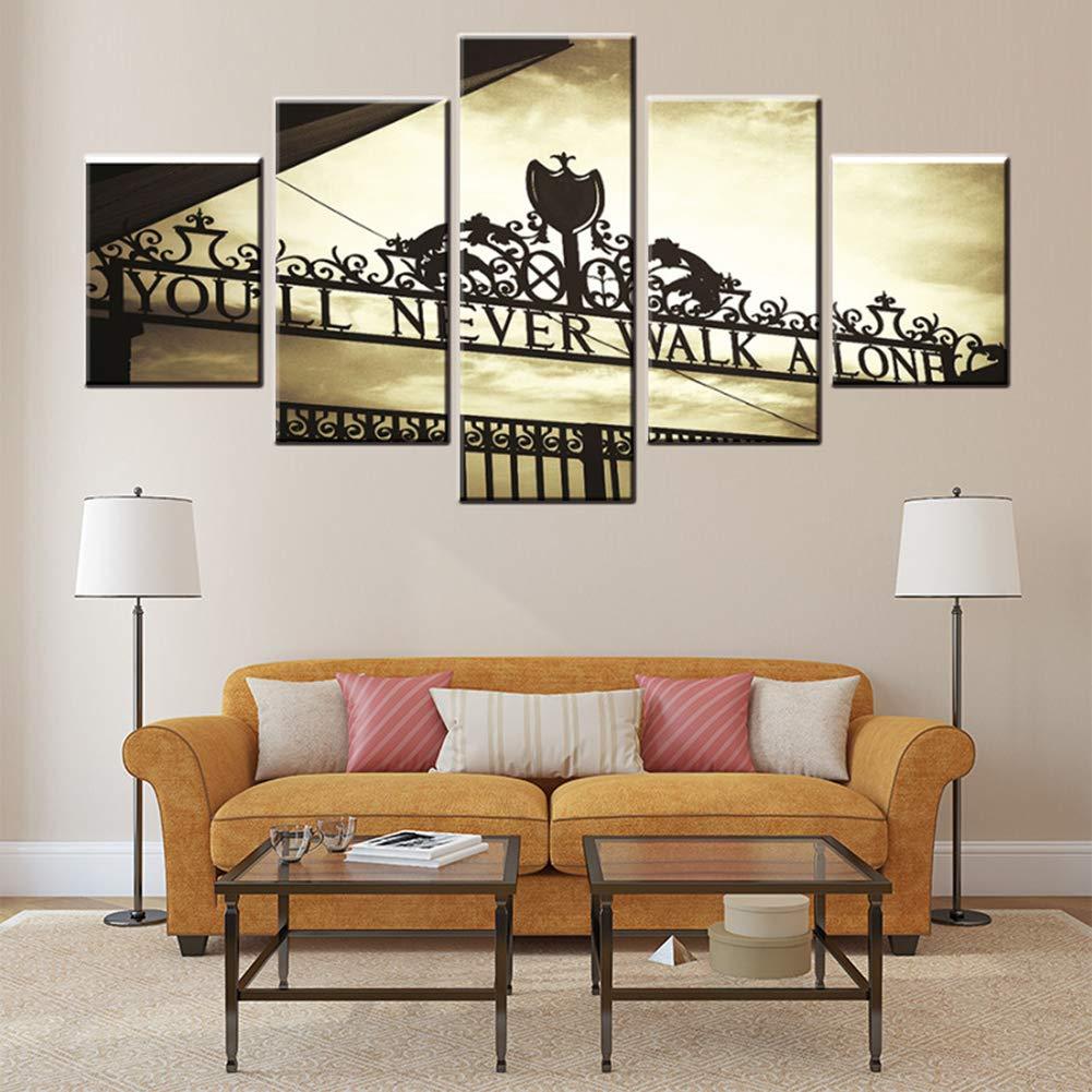 KINYNE Abstrakte Malerei 5 Stück Wandkunst You'll Never Walk Alone Englisch Buchstaben Bilder Drucke Auf Leinwand Für Home Wohnzimmer Schlafzimmer Dekoration,B,30X40x2+30X60x2+30X80x1