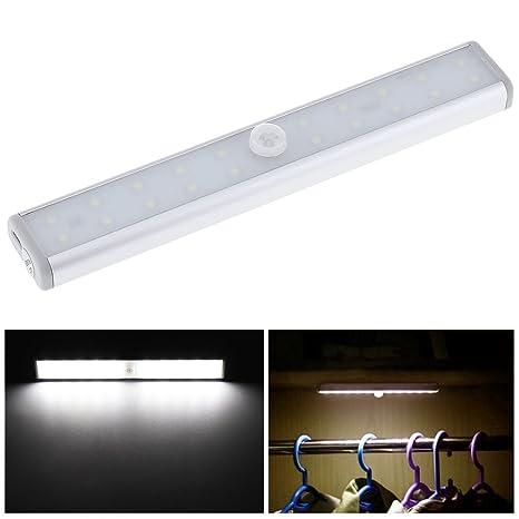 Origlam PIR Sensor de movimiento Gabinete Luz Luz para armario, 20 LED USB Batería Barra