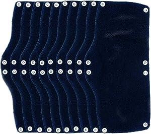 XIAKE 10 Pack Hard Hat Sweatband, Reusable Snap-On Sweatband, Beat The Heat, Navy Blue