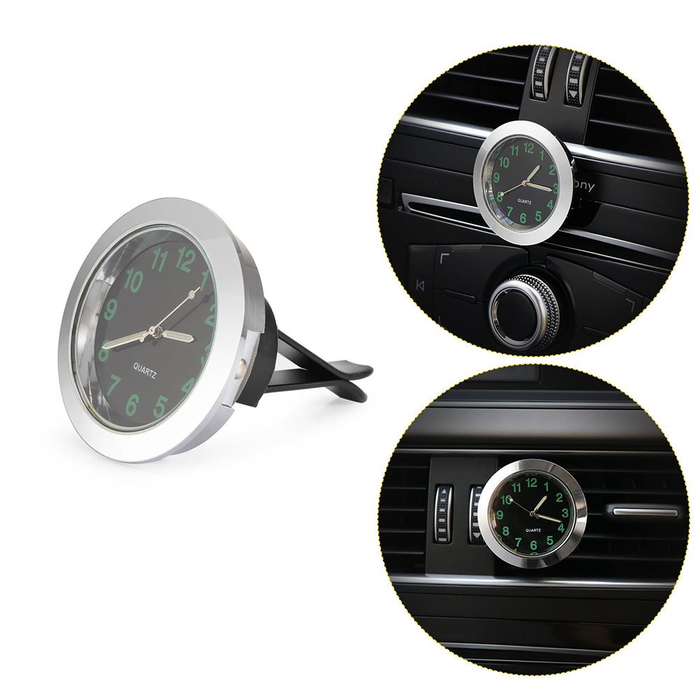 Car Air Vent Clip Clock Automobile Luminous Dashboard Clock Round Analog Quartz Clock Luminous Stick-On Clock with Clip Night Display (Black) AOZBZ
