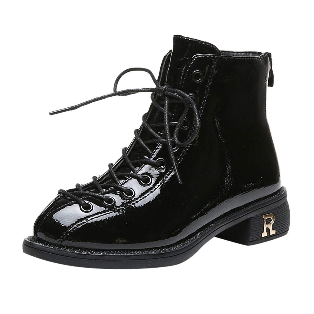 Yanvan Women's Ladies Winter Autumn Fashion Motorcycles Short Ankle Boots Lace Up Square Heel Shoes by Yanvan