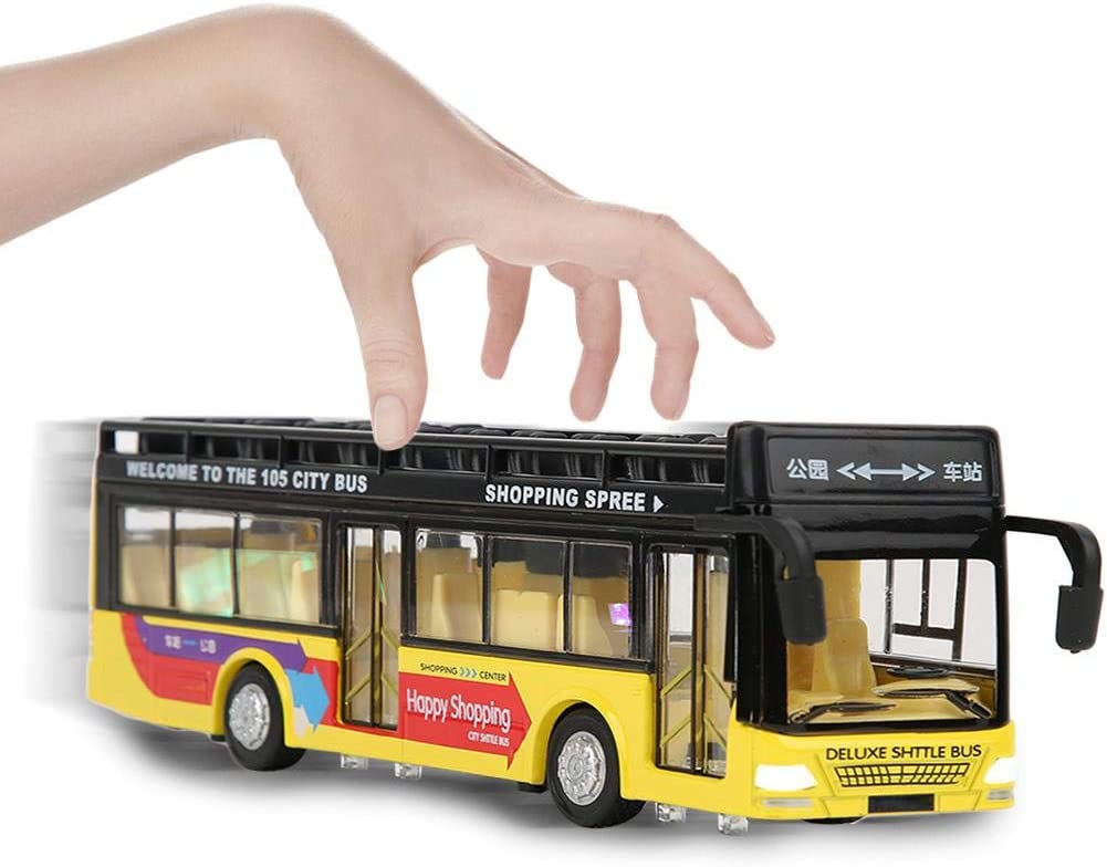 1:50 Scale Alloy Die-Cast Bus Vehicles Pull Back Open-Roof Auto-Bus with Sound and Light Simulation Double-Decker Sightseeing Bus Yellow