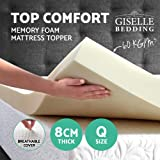 Giselle Bedding 8cm Memory Foam Mattress Topper with w/Bamboo Fabric Cover-Queen