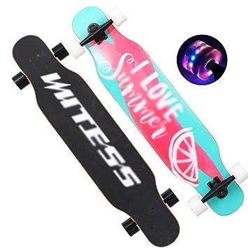 CHENGGUO Rueda de Destello de 42 Pulgadas Skateboard para Principiantes Longboard Adultos para niños y niñas Tablero de Baile Callejero para jóvenes ...