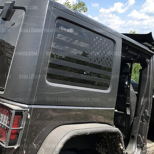 JKU JK Hard top Window Flag Decals Stickers to fit Jeep Wrangler 2007-2017 (JKU Passenger Side ONLY)