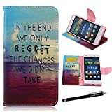 Huawei P8 Lite Case,P8 Lite Wallet Case - Never Regret Quote Pattern Premium PU Leather Wallet Case Stand Cover Card Slots for Huawei P8 Lite + CoolGiftCase Stylus