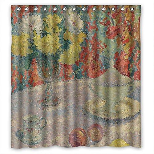 Shower Curtains Width X Height / 72 X 72 Inches / W H 180 By 180 Cm(fabric) Nice Choice For Valentine Relatives Gf Birthday Her. Modern Design Henri Martin - Dahlias Au Soleil Polyester (Dot Soleil)